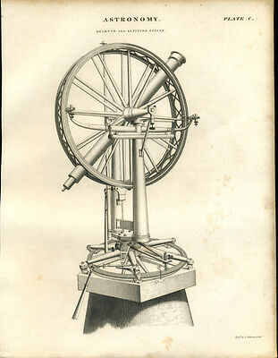Antique print ASTRONOMY - AZIMUTH & ALTITUDE CIRCLE - engraving - 1842