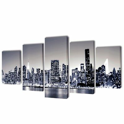 # Set of 5 Monochrome New York Skyline Canvas Print Framed Wall Art Decor 100x50