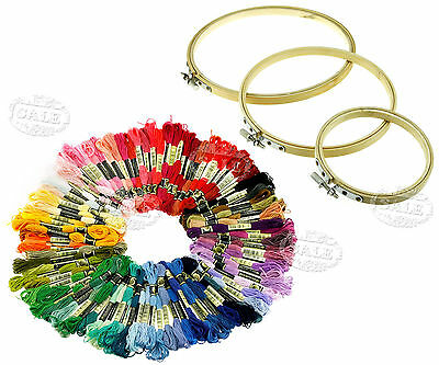 New 3pcs Round Bamboo Hoops/Rings + 100pcs Embroidery Thread Cross Stitch Floss