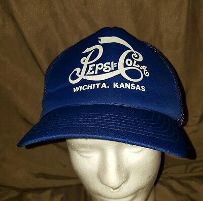 VINTAGE PEPSI COLA Wichita Kansas SNAPBACK CAP HAT MESH TRUCKER MADE IN USA blue