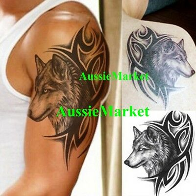 1 x temporary tattoo sticker wolf dog animal tribal body art fancy dress party