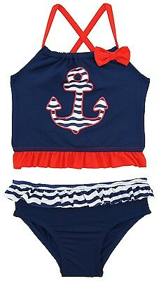 Wippette Toddler Girls Anchor 2 Piece Tankini Swimsuit Rashguard with Bow