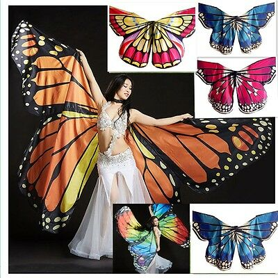 New Butterfly Belly Dance Costume Lady Isis Wings Egyptian Dance Wear & Sticks