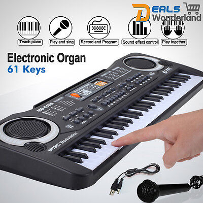 New 61 Key Digital Music Electronic Keyboard  Piano Set Organ w/Microphone