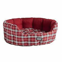 PET-302808 - Do Not Disturb Oval Bed Red Tartan 71cm