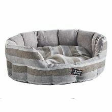 PET-302754 - Do Not Disturb Oval Bed Grey Stripe 58cm
