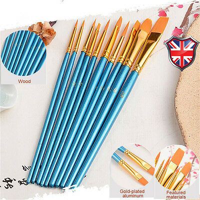 10 Pcs Face Painting Brushes - Round And Flat Tip Art Paint Brush Glitter Set