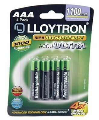 4 x Lloytron AAA Rechargeable Batteries High Capacity 1100mAh NiMH - Cameras etc