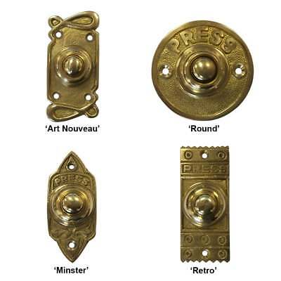 VICTORIAN VINTAGE DOOR BELL PUSH Solid Brass Front Back Door Antique Chime Press