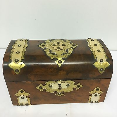 Antique Gothic Revival Walnut Brass Detail Tea Caddy Lovely Piece Two Section
