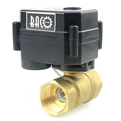 "BACO 1/2"" 3/4"" 1"" 12V DC Motorized Ball Valve, 2/3 Way Port Brass NC Valve BSP"