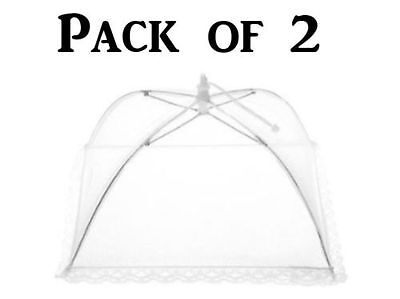 2x Collapsible Food Cover Pop Up Mesh Fly Wasp Net Party BBQ Kitchen Insect 45cm