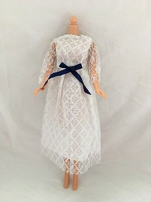 Vintage Barbie Doll Knock Off Clone Outfit WHITE LACE Silver Threads DRESS