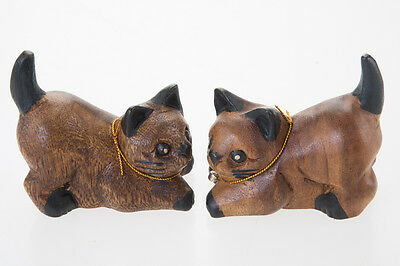 Cat Miniature In Pair Wood Carved Kitten Decor Cute Craft Figurine Collectibles
