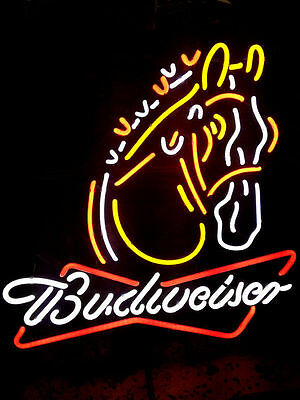 """New Budweiser Clydesdale Horse Beer Bar Neon Sign 19""""x15"""" Ship From USA"""