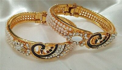 Indian Bollywood Gold Plated Peacock  Fashion pearl stone studded bangle  EB_001