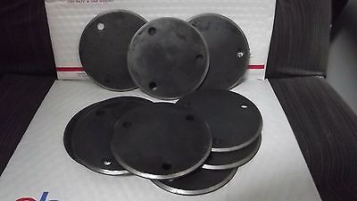 "Beveled Steel Base Mounting Plate Plates Round Disc Drilled 4 3/4"" Three Hole"