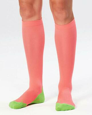 2XU Women's Compression Performance Run Socks, Fluro Coral/Green