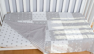 Baby plush Blanket, Reversible Patchwork Quilt, Baby Bedding, coverlet