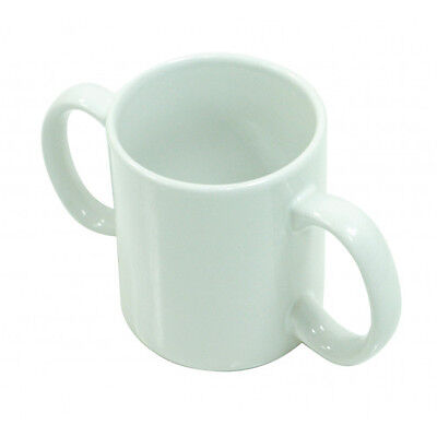 NEW White Two Handled Ceramic Cup Mug For Weak Grip Disability Aid