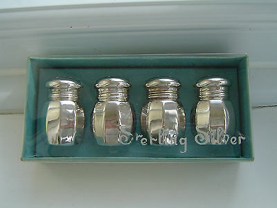 Four (4) American Sterling Silver Salt & Pepper Pots by Empire - MIB