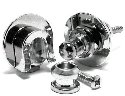 Quick Release Strap Lock Electric/Acoustic Guitars 2pc Chrome Schaller Style