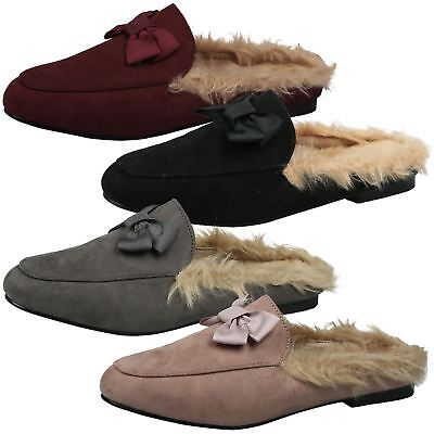 946f08cfb4d Womens Shoes Ladies Loafers Backless Mules Open Smart Leather Look Fur  Flats New