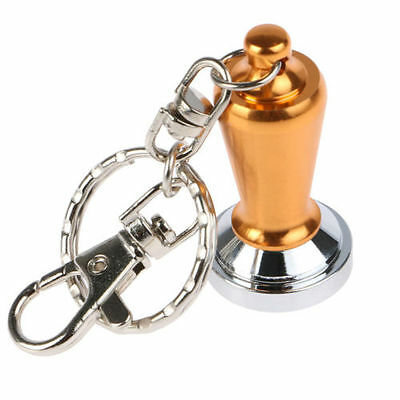 New Mini Coffee Geek Barista Cafe Gift Espresso Gold Heavy Duty Tamper Keyring