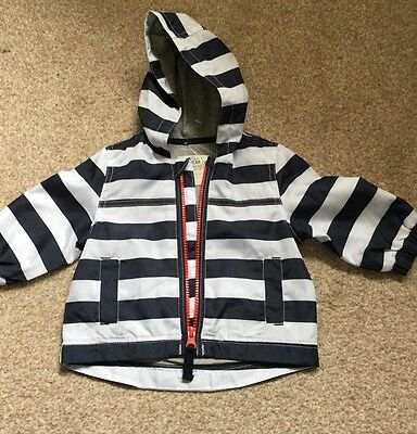 BNWOT M&S Lined Baby Boys Blue, White Stripe, Hooded Lightweight Jacket Up 3m