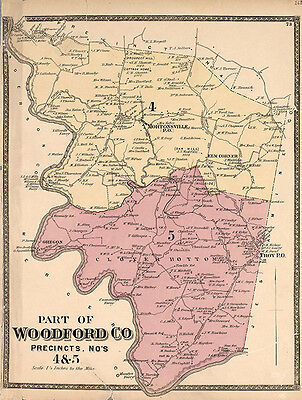 1877 Map of Middle Woodford County Kentucky