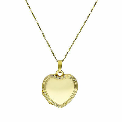 9ct Gold Edged Engravable Heart Locket on Chain 16 - 20 Inches Hearts Valentines