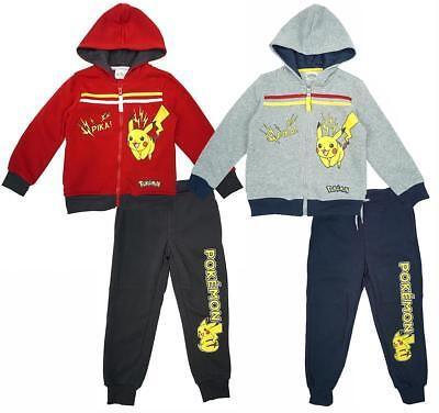 Boys Tracksuit Hoody Jog Pokemon Pika Zip Jogging Suit Official 4 to 12 Years