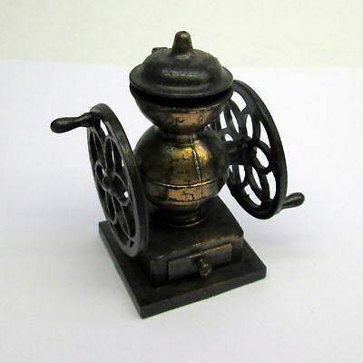 vintage antique brass look diecast COFFEE MILL GRINDER pencil sharpener