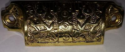 Solid Brass Bin Pull Gold-Tone Drawer/Cabinet Handle Ornate  #C16