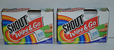 Lot of 2 Boxes Shout Wipe & Go Instant Stain Remover 12 Individual Wipes Each