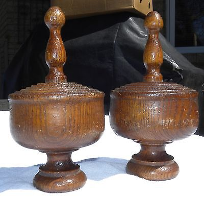 (2)Antique VERY LARGE Huge WOODEN Hand-Turned OAK DRAPERY Curtain FINIALS French