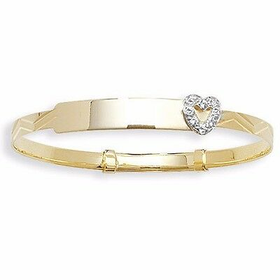 """9ct Gold Baby ID Bangle Personalised Christening Heart Expandable Engraved 5.5"""""""
