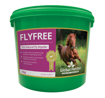 GLOBAL HERBS FLYFREE 1KG - Fly Free Horse Supplement Pony Tub