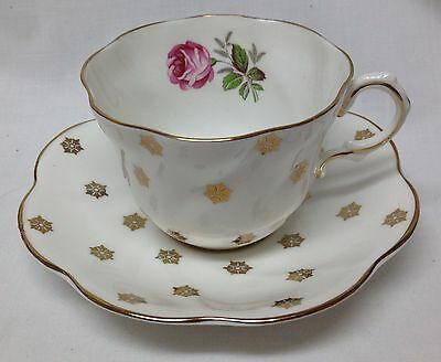 Royal Taunton England Coffee Cup & Saucer Hand Painted w/Gold Trim Excel Cond