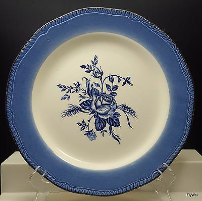 "Wood and Sons Colonial Rose Blue Accent Dinner Plate 11"" Ivory Fine Dinnerware"