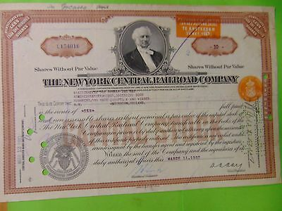 1937 The New York Central Rail road company early 1937 Certificate Old Item!