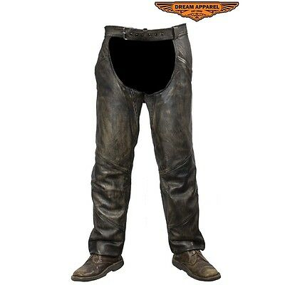 Men's Distressed Brown Leather Motorcycle Chaps With Leather Belt