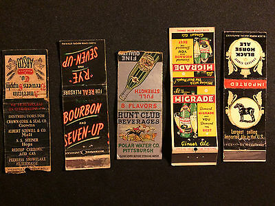 Vintage American Brewers Supply Co Black Horse Ale 7Up Nice Matchbook Lot Rare!!