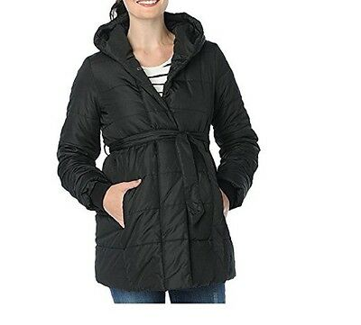 Maternity Oh Baby by Motherhood Hooded Puffer Coat Black Large