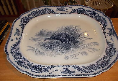 "Large Antique Cauldon Flow Blue Turkey Platter - 22"" x 18"" - Circa 1890"