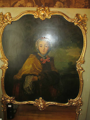 19th c Antique  French Trumeau Mirror Carved Gilt Wood OIL Painted portreit