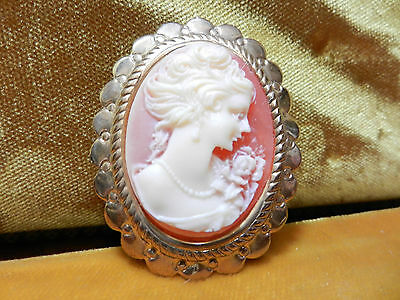 Cameo Brooch Pink and White Shell True Cameo