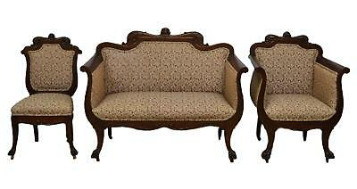 Antique Mahogany 3pc Parlor Set Settee , Arm Chair , Chair