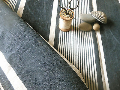 Antique Rustic French Farmhouse Gray Blue Wide Stripe Ticking Fabric