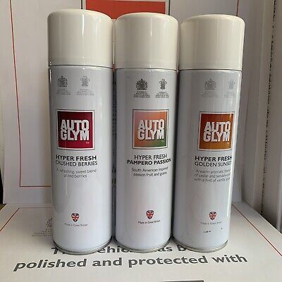 3 X Autoglym Hyper Fresh Air Freshener CRUSHED BERRIES, TROPICAL, GOLDEN SUNSET